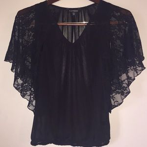 Sexy Completely Sheer Blouse W/ Lace Bell Sleeves